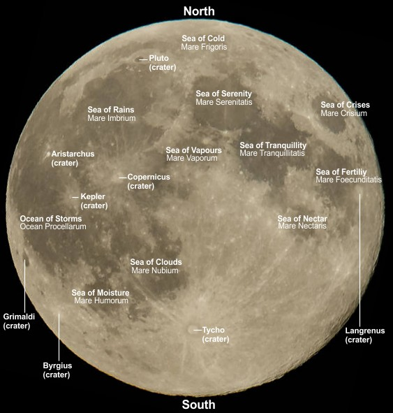 Moon with seas and major craters labelled