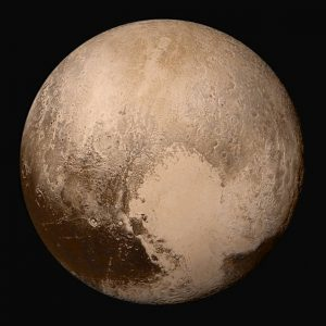 True-colour image of Pluto from the New Horizons probe