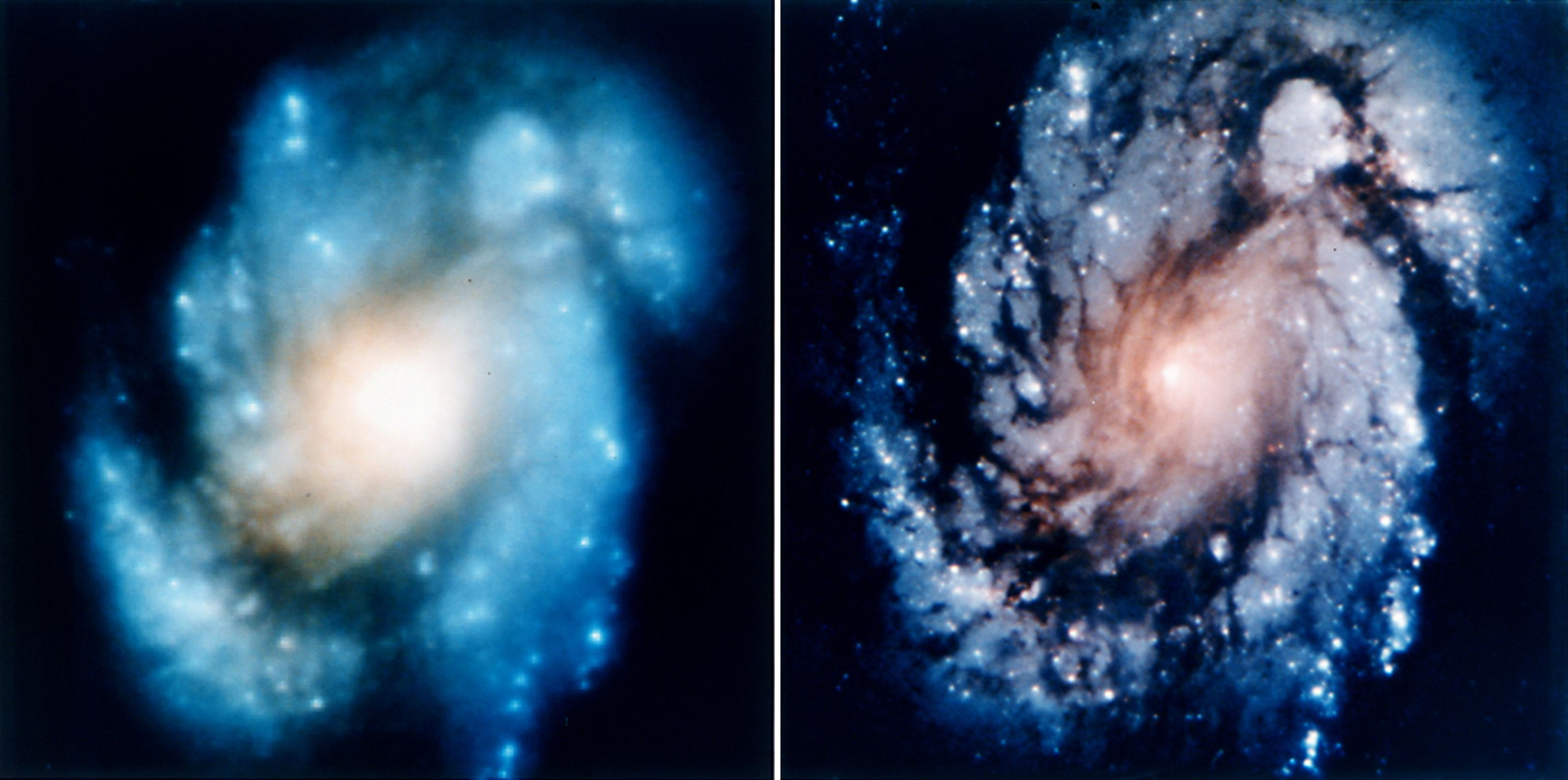 HST images of M100 before and after installation COSTAR